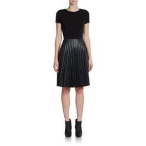 Calvin Klein Black Knit And Faux Leather Dress